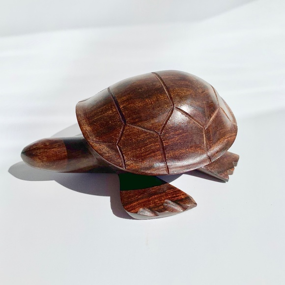Hand Carved Solid Wood Sea Turtle